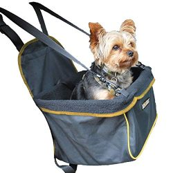 DOG for DOG Puppy Booster Car Seat Cover for Small Dogs & Puppies – Portable, Foldable, Collapsable Pet Car Carrier with Safety Leash – Dogs 12Lbs & Under (Black)