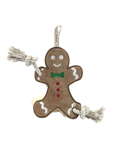 Simply Fido Gingerbread Man Stuffless Rope Toy, Brown/Red
