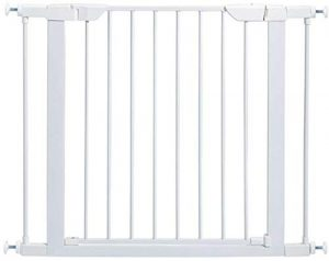 Pet Gate | 29″ High Walk-thru Steel Pet Gate by 29″ to 38″ Wide in Soft White w/ Glow Frame, Medium