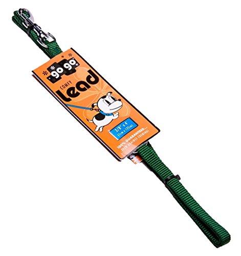 GoGo Pet Products 3/8-Inch Wide Comfy Nylon Dog Leash, 4-Feet Long, Hunter Green