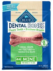 Blue Buffalo Dental Bones Natural Adult Dental Chew Dog Treat  Mini 12-oz bag
