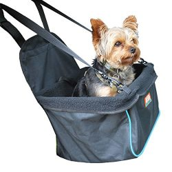 Animal Planet Puppy Booster Car Seat Cover for Small Dogs – Portable, Foldable, Collapsable Pet Car Carrier with Safety Leash – 12lbs and Under – Black W. Blue Trim