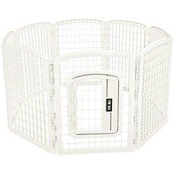 AmazonBasics 8-Panel Plastic Pet Pen Fence Enclosure With Gate – 64 x 64 x 34 Inches, White