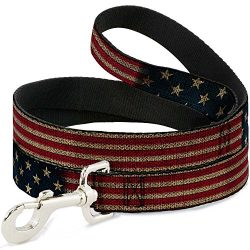 Buckle-Down Pet Leash – Vintage US Flag Stretch – 6 Feet Long – 1″ Wide