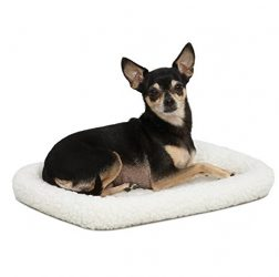 "18L-Inch White Fleece Dog Bed or Cat Bed w/ Comfortable Bolster | Ideal for ""Toy"" Dog Breeds & Fits an 18-Inch Dog Crate 