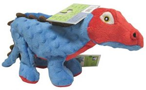 goDog Dinos Spike With Chew Guard Technology Tough Plush Dog Toy, Blue, Large