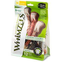 Whimzees Natural Grain Free Dental Dog Treats, Medium Brushzees, Bag Of 12