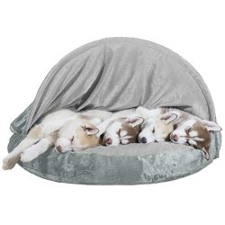 Furhaven Pet Dog Bed | Orthopedic Round Cuddle Nest Micro Velvet Snuggery Blanket Burrow Pet Bed w/ Removable Cover for Dogs & Cats, Gray, 35-Inch
