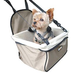 DOG for DOG Puppy Booster Car Seat Cover for Small Dogs & Puppies – Portable, Foldable, Collapsable Pet Car Carrier with Safety Leash – Dogs 12Lbs & Under (Beige)