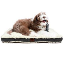 American Kennel Club AKC718GRAY AKC Medium Suede Sherpa Crate Dog Pet Bed, Gray, 30 inch by 22 inch
