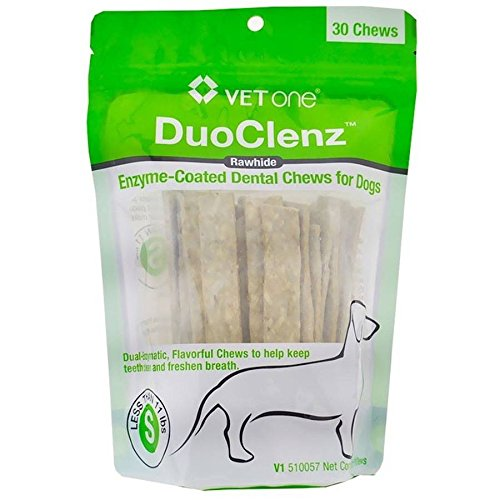 Vet One DuoClenz EnzymeCoated Dog Dental Hygiene Chews for Small Dogs – Clean Teeth & Freshen Breath – 30 Count