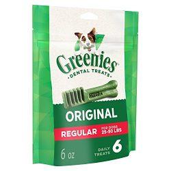 GREENIES Original Regular Natural Dog Dental Care Chews Oral Health Dog Treats, 6 oz. Pack (6 Treats)