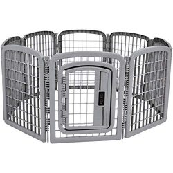 AmazonBasics 8-Panel Plastic Pet Pen Fence Enclosure With Gate – 59 x 58 x 28 Inches, Grey