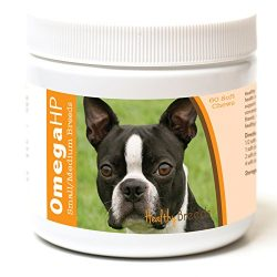 Healthy Breeds Dog Omega 3 Supplement Soft Chews for Boston Terrier – Over 100 Breeds – EPA & DHA Fatty Acids – Small & Medium Breed Formula – 60 Count