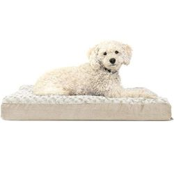 Furhaven Pet Dog Bed | Deluxe Orthopedic Mat Ultra Plush Faux Fur Traditional Foam Mattress Pet Bed w/ Removable Cover for Dogs & Cats, Cream, Medium