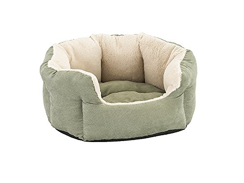 Sleep Zone Faux Suede Reversible Cushion Cuddler Dog Bed – Non-Woven Bottom – 18X16 Inches / Sage / Attractive, Durable, Comfortable, Washable. By Ethical Pets