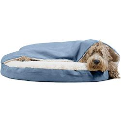 Furhaven Pet Dog Bed | Orthopedic Round Cuddle Nest Faux Sheepskin Snuggery Blanket Burrow Pet Bed w/ Removable Cover for Dogs & Cats, Blue, 35-Inch