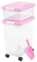 IRIS USA, Inc. 3Piece Airtight Pet Food Storage Container Combo, Pink