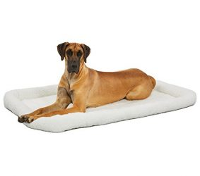 54L-Inch White Fleece Dog Bed or Cat Bed w/ Comfortable Bolster | Ideal for Giant Dog Breeds (Great Dane / Mastiff) & Fits a 54-Inch Dog Crate | Easy Maintenance Machine Wash & Dry | 1-Year Warranty