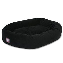 Majestic Pet 40″ Black Velvet Bagel Dog Bed