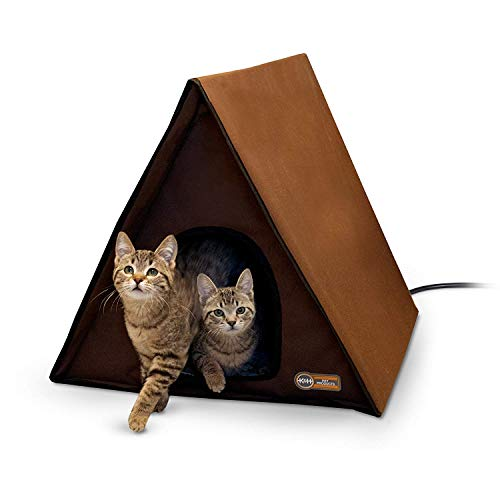 K&H Pet Products A-Frame Multi-Kitty Outdoor Heated Kitty House, Chocolate, 40W