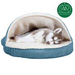 Furhaven Pet Dog Bed | Orthopedic Round Cuddle Nest Faux Sheepskin Snuggery Blanket Burrow Pet Bed w/ Removable Cover for Dogs & Cats, Blue, 26-Inch
