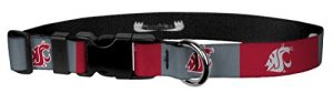 Moose Pet Wear Dog Collar – Washington State University Cougars Adjustable Pet Collars, Made in The USA – 1 Inch Wide, Medium, Red/Gray Box Logo