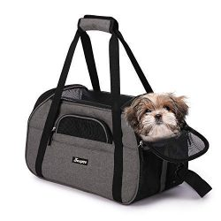 JESPET Soft Sided Pet Carrier Comfort to Travel for Small Animals/Cats/Kitten/Puppy, Smoke Gray, 19″ x 10″ x 13″