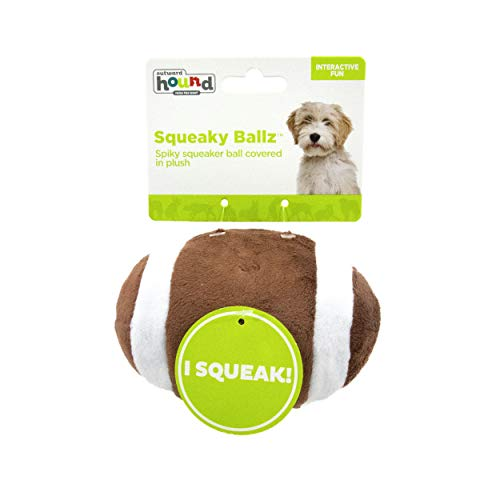 Outward Hound Squeaky Sports Ballz – Soft Interactive Dog Toy – Bouncy Dog Ball with Soft Plush Cover, Football