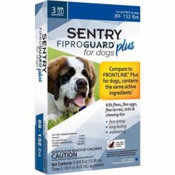 SENTRY Fiproguard Plus for Dogs, Flea and Tick Prevention for Dogs (89-132 Pounds), Includes 3 Month Supply of Topical Flea Treatments