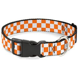 Buckle-Down Plastic Clip Collar – Checker White/TN Orange – 1/2″ Wide – Fits 8-12″ Neck – Medium