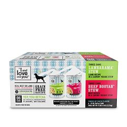 """I and love and you"" Naked Essentials Wet Dog Food – Grain Free and Canned, Beef + Lamb Variety Pack, 13-Ounce, Pack of 6 Cans"
