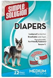 Simple Solution Disposable Dog Diapers for Female Dogs | Super Absorbent Leak-Proof Fit | Medium | 12 Count