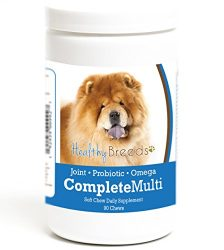 Healthy Breeds Dog All in One Multivitamin Soft Chews for Chow Chow – Over 200 Breeds – Hip & Joint Digestion Skin & Coat Vitamins – 90 Chews