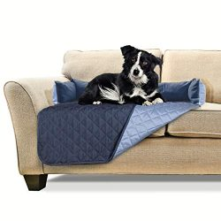 Furhaven Pet Furniture Cover | Sofa Buddy Two-Tone Reversible Water-Resistant Living Room Furniture Cover Protector Pet Bed for Dogs & Cats, Navy/Light Blue, Medium