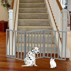 PETMAKER Wooden Pet Gate- Foldable 3-Panel Indoor Barrier Fence, Freestanding & Lightweight Design for Dogs, Puppies, Pets- 54 X24 (Gray Paint)