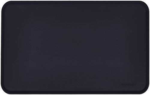 AmazonBasics Silicone Waterproof Pet Food And Water Bowl Mat For Dog or Cat – 18.5 x 11.5 Inches, Black