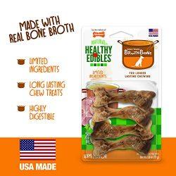 Nylabone Healthy Edibles Broth Bone All Natural Dog Treats Made with Real Bone Broth – Ham, Small, 4Count
