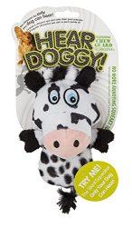Hear Doggy!  Mini Flattie Cow with Chew Guard Technology Plush Silent Squeak Dog Toy