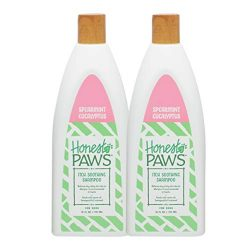 Honest Paws Natural Spearmint Eucalyptus Itch Soothing Dog Shampoo for All Dogs and Puppies with Dry Itchy Skin, Pack of 2| Oatmeal Dog Shampoo