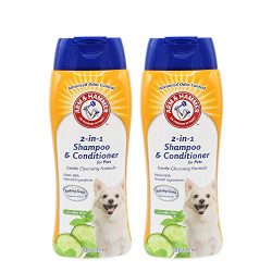 Arm & Hammer 2-in-1 Shampoo & Conditioner for Dogs | Dog Shampoo & Conditioner in One | Cucumber Mint, 20 Ounces – 2 Pack