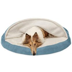Furhaven Pet Dog Bed | Orthopedic Round Cuddle Nest Faux Sheepskin Snuggery Blanket Burrow Pet Bed w/ Removable Cover for Dogs & Cats, Blue, 44-Inch