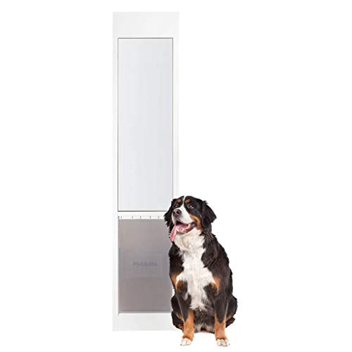 PetSafe Freedom Aluminum Patio Panel Sliding Glass Dog and Cat Door, Adjustable 76 13/16 in to 80 11/16 in – X-Large White Pet Door