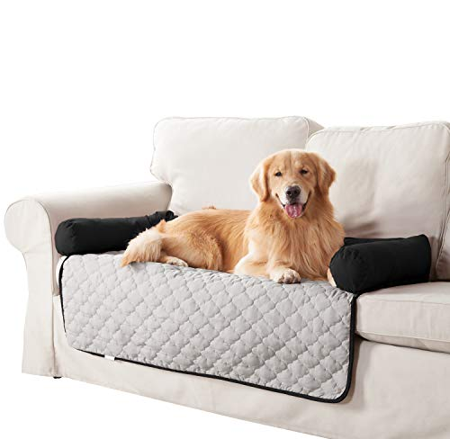 Quick Fit Wubba Reversible Pet Bed Couch Cover for Dogs, 45×34, Silver-Black