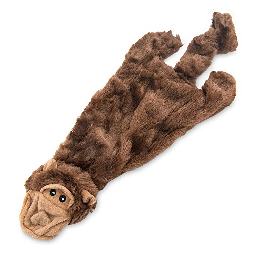 2-in-1 Fun Skin Stuffless Dog Squeaky Toy by Best Pet Supplies – Monkey, Small