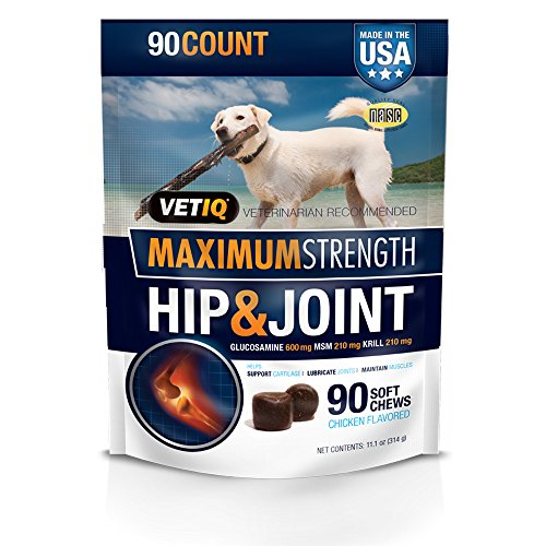 VetIQ Maximum Strength Hip and Joint Supplement for Dogs – Chicken Flavored Soft Chews, 11.1oz (90 count bag)