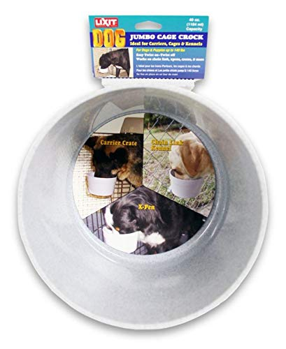 Lixit Dog Carrier Cage Crock, Granite, 40oz