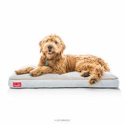 Brindle Soft Shredded Memory Foam Dog Bed with Removable Washable Cover, 40″ x 26″, Stone