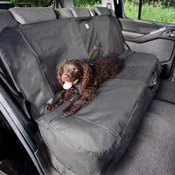 Kurgo Dog Seat Cover | Car Bench Seat Covers for Pets | Dog Back Seat Cover Protector | Water Resistant for Dogs | Contains Seat Anchors | Scratch Proof | Cars | Extended Width Bench Seat Cover Style | 63 Inches | Charcoal Grey / Gray
