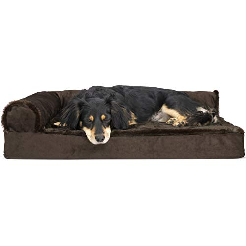 Furhaven Pet Dog Bed | Deluxe Orthopedic Plush Faux Fur & Velvet L Shaped Chaise Lounge Living Room Corner Couch Pet Bed w/ Removable Cover for Dogs & Cats, Sable Brown, Medium